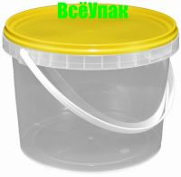 Ведро 1,1л с желтой крышкой (200шт+кр 400шт)